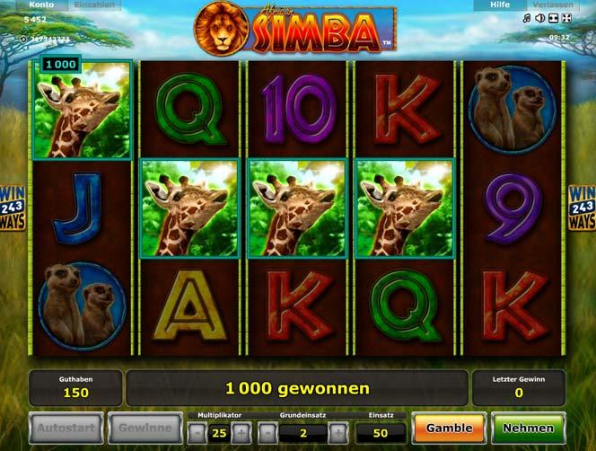 African Simba kostenlos oder um Echtgeld online spielen bei Spintastic