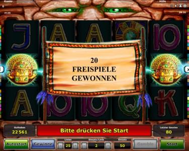 20 Freispiele in Aztec Power gewonnen