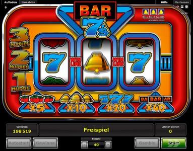 Gewinn eines Freispiels in Bar 7s