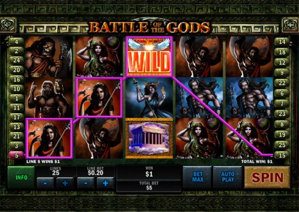 Gewinn dank des Battle of the Gods Wild Symbols