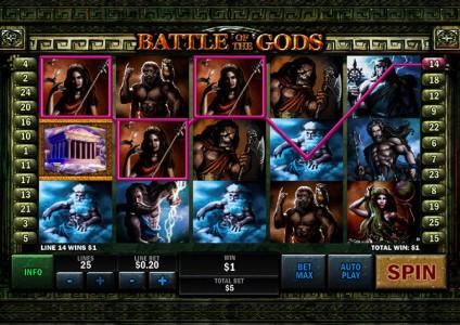 Weiterer Gewinn beim Battle of the Gods spielen
