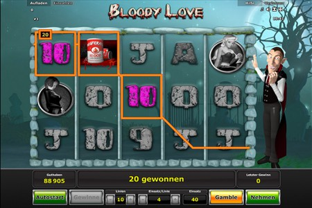 Einfacher Gewinn im Stargames Spiel Bloody Love
