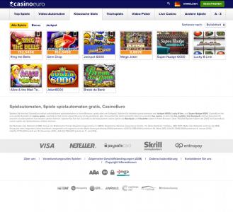 Klassische Spielautomaten kann man auch im CasinoEuro spielen