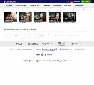 Live Casino Spiele im CasinoEuro
