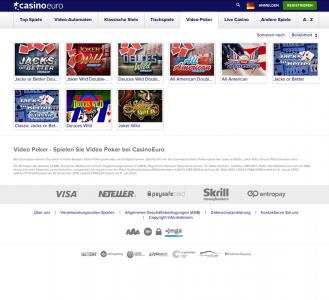 Video Poker Spiele des Anbieters