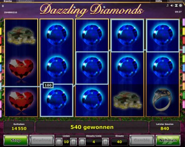 Dazzling Diamonds Startbildschirm