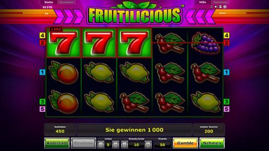 Einfacher Gewinn beim Fruitilicious spielen