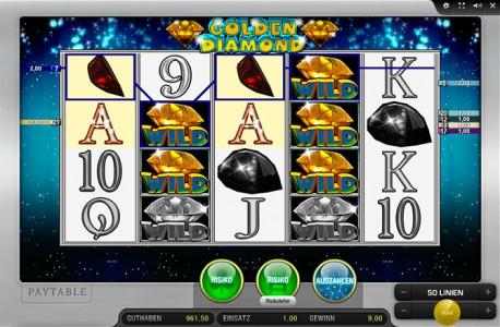 Hohe Gewinne dank der Wild Symbole beim Golden Diamond spielen