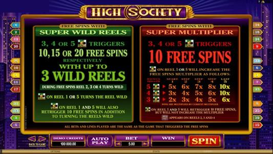 Freispiele des Online Slots High Society