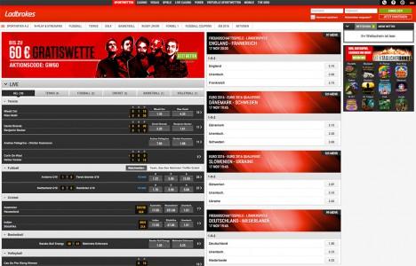 Sportwetten Angebot vom Ladbrokes Casino