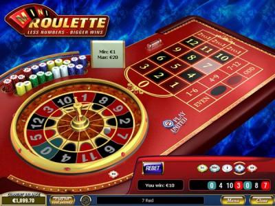 Das Spielfeld vom Mini Roulette Spiel
