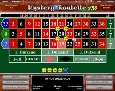 Mystery Roulette x38 - Das Spiel