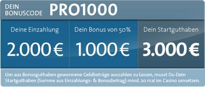 1.000 Euro Neukunden Bonus von Sunmaker