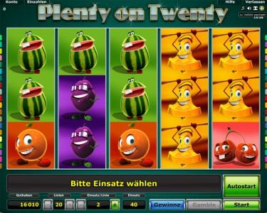 Plenty on Twenty Startbildschirm