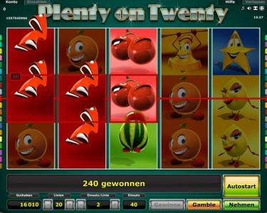 Plenty on Twenty Gewinn
