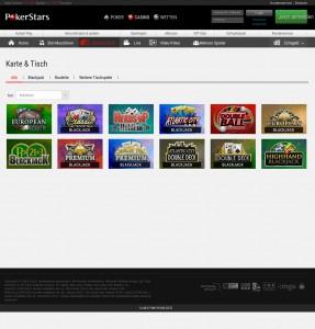 Auch Karten- und Tischspiele sind im PokerStars Casino abrufbar