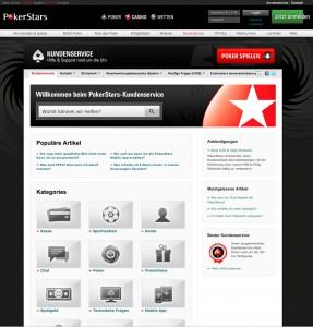 Der Kundenservice Bereich von PokerStars