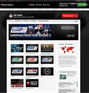 Live Poker Angebot von PokerStars