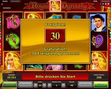 Die Gewinntabelle des Royal Dynasty Spiels