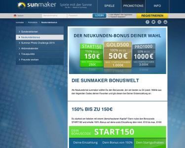 Sunmakers Neukundenbonus