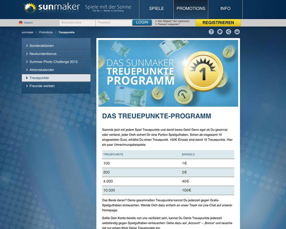 Sunmaker Treuepunkte