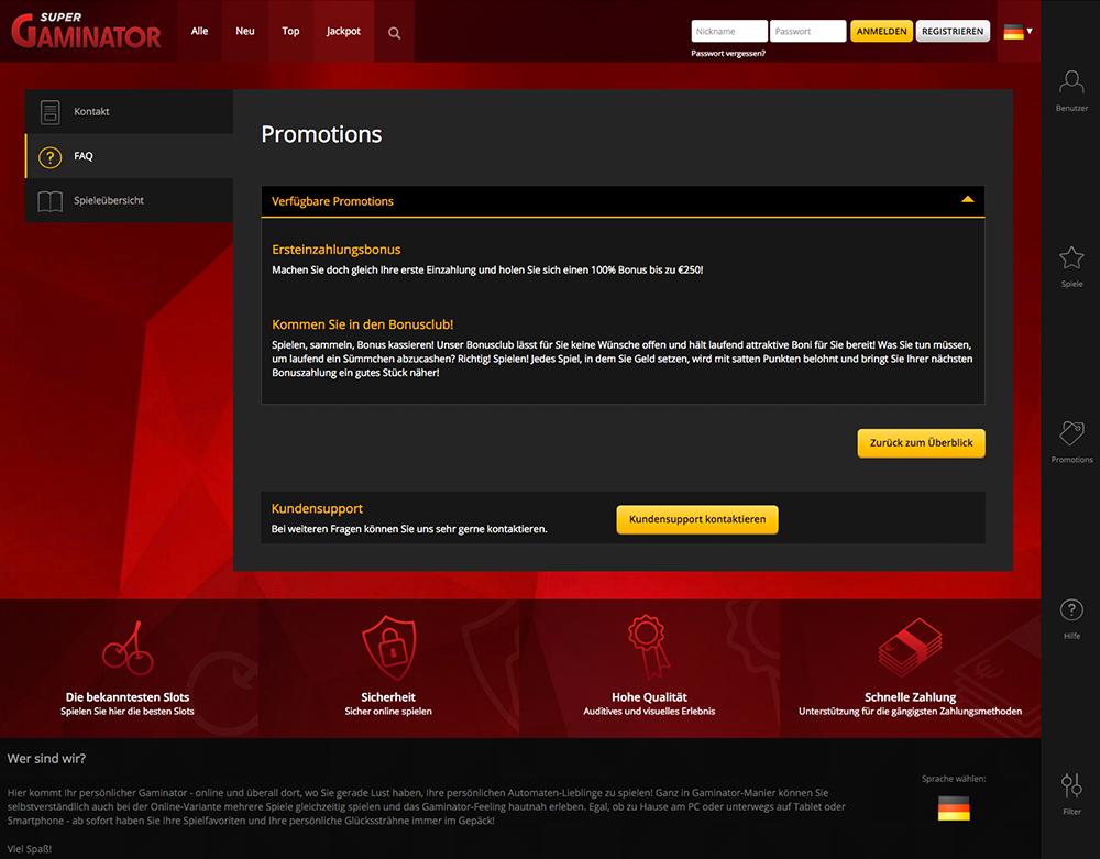Gaminator Casino Online