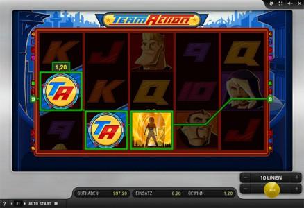Auch Du gewinnst im Sunmaker Casino am Team Action Spielautomaten