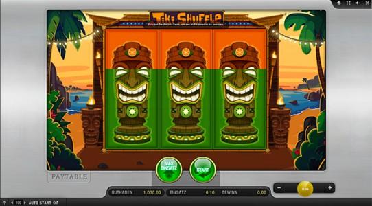 Startbildschirm des Spielautomaten Tiki Shuffle