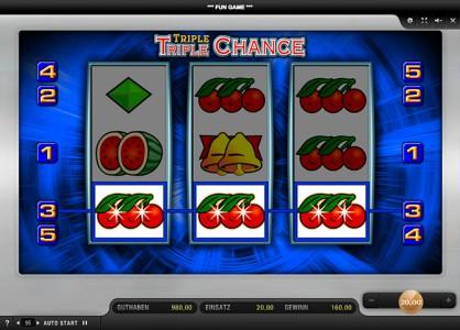 Noch eine Gewinnkombination beim Triple Triple Chance spielen