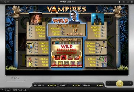 Gewinntabelle des  Vampires Night Merkur Spiels