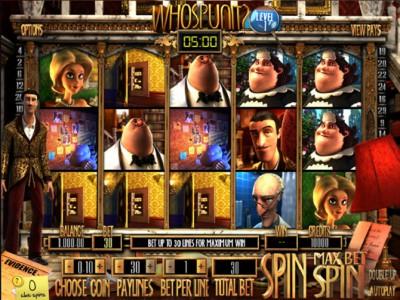 Startbildschirm des Automatenspiels Whospunit