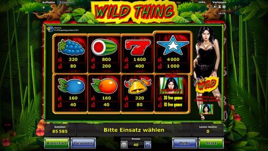Wild Thing Gewinntabelle