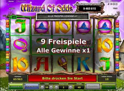 9 Freispiele in Wizard of Odds gewonnen