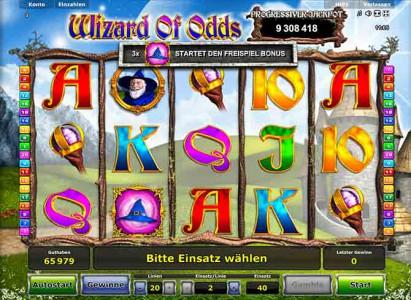 Wizard of Odds - der Hut startet den Freispiel Bonus