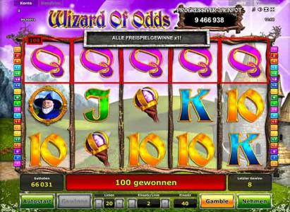 Alle Freispielegewinne x1 in Wizard of Odds