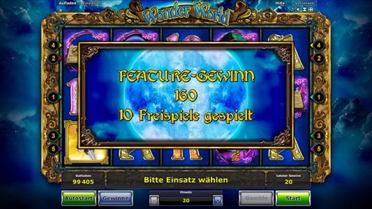 Feature Gewinn während der Freispiele des Stargames Wonder World